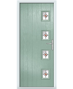 The Preston Composite Door in Green (Chartwell) with Red Fusion Ellipse