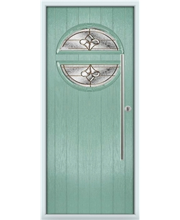 The Xenia Composite Door in Green (Chartwell) with Brass Art Clarity