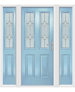 The Cardiff Composite Door in Blue (Duck Egg) with Classic Glazing and matching Side Panels