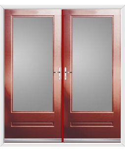 Classic French Rockdoor in Ruby Red with Glazing