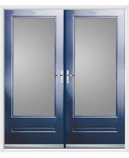 Classic French Rockdoor in Sapphire Blue with Glazing