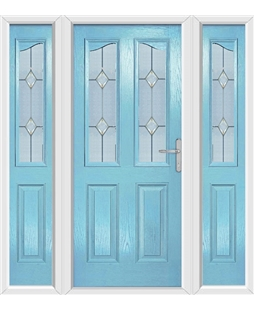 The Birmingham Composite Door in Blue (Duck Egg) with Classic Glazing and matching Side Panels