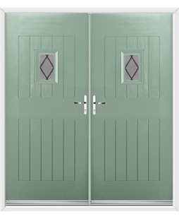 Cottage Spy View French Rockdoor in Chartwell Green with Diamond Lead