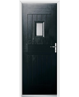 Ultimate Cottage Spy Rockdoor in Onyx Black with Glazing
