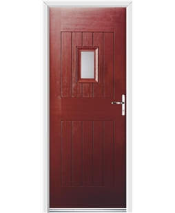 Ultimate Cottage Spy Rockdoor in Ruby Red with Glazing