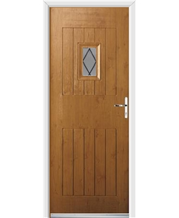 Ultimate Cottage Spy Rockdoor in Irish Oak with Diamond Lead
