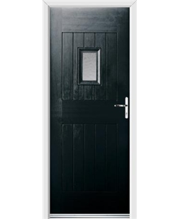 Ultimate Cottage Spy Rockdoor in Onyx Black with Gluechip Glazing