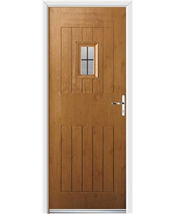Ultimate Cottage Spy Rockdoor in Irish Oak with Square Lead