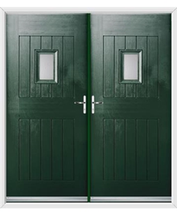 Cottage Spy View French Rockdoor in Emerald Green with Glazing