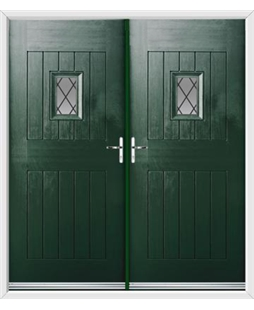 Cottage Spy View French Rockdoor in Emerald Green with Diamond Lead