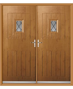 Cottage Spy View French Rockdoor in Irish Oak with Diamond Lead