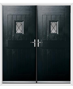 Cottage Spy View French Rockdoor in Onyx Black with Diamond Lead