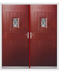 Cottage Spy View French Rockdoor in Ruby Red with Diamond Lead