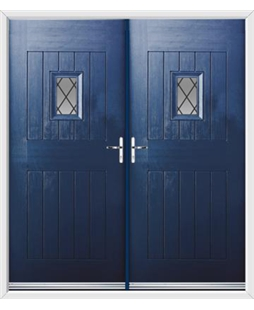 Cottage Spy View French Rockdoor in Sapphire Blue with Diamond Lead