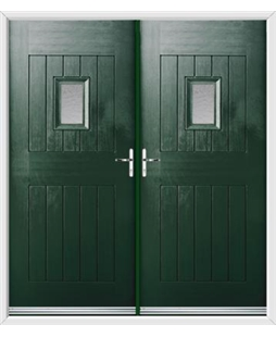 Cottage Spy View French Rockdoor In Emerald Green with Gluechip Glazing