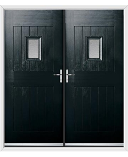 Cottage Spy View French Rockdoor in Onyx Black with Gluechip Glazing
