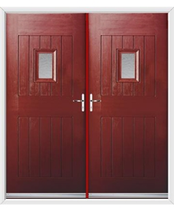 Cottage Spy View French Rockdoor in Ruby Red with Gluechip Glazing