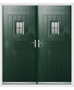 Cottage Spy View French Rockdoor in Emerald Green with Square Lead