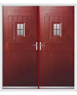 Cottage Spy View French Rockdoor in Ruby Red with Square Lead