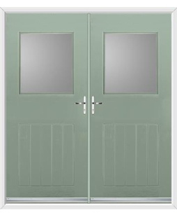 Cottage View Light French Rockdoor in Chartwell Green with Glazing