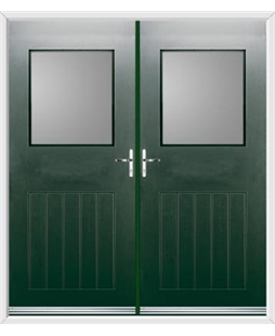Cottage View Light French Rockdoor in Emerald Green with Glazing