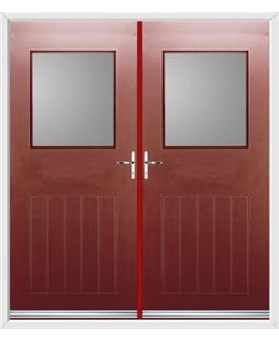 Cottage View Light French Rockdoor in Ruby Red with Glazing