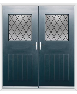 Cottage View Light French Rockdoor in Anthracite Grey with Diamond Lead