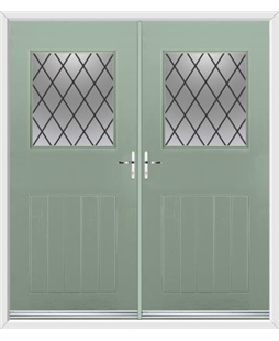 Cottage View Light French Rockdoor in Chartwell Green with Diamond Lead
