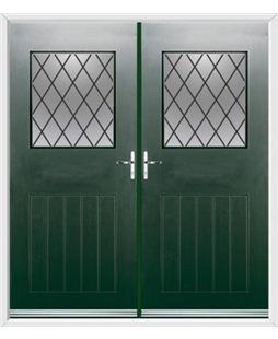 Cottage View Light French Rockdoor in Emerald  Green with Diamond Lead
