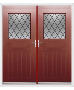 Cottage View Light French Rockdoor in Ruby Red with Diamond Lead