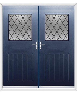 Cottage View Light French Rockdoor in Sapphire Blue with Diamond Lead