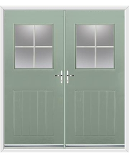 Cottage View Light French Rockdoor in Chartwell Green with Georgian Bar