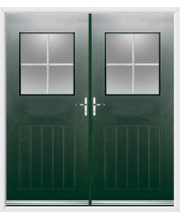 Cottage View Light French Rockdoor in Emerald Green with Georgian Bar