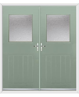 Cottage View Light French Rockdoor in Chartwell Green with Gluechip Glazing