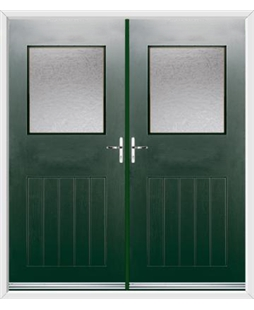 Cottage View Light French Rockdoor in Emerald Green with Gluechip Glazing