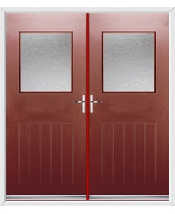 Cottage View Light French Rockdoor in Ruby Red with Gluechip Glazing