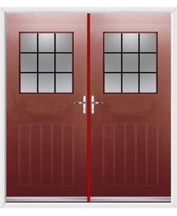 Cottage View Light French Rockdoor in Ruby Red with Square Lead