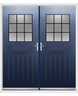 Cottage View Light French Rockdoor in Sapphire Blue with Square Lead