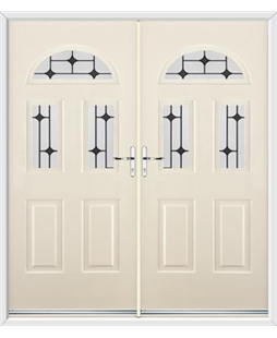 Tennessee French Rockdoor in Cream with Black Diamonds
