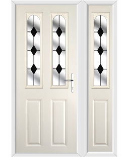 The Aberdeen Composite Door in Cream with Black Diamonds and matching Side Panel