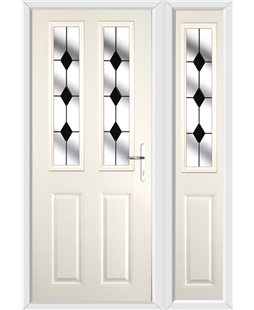 The Cardiff Composite Door in Cream with Black Diamonds and matching Side Panel