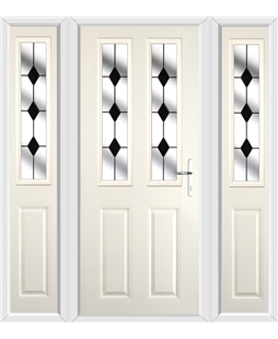 The Cardiff Composite Door in Cream with Black Diamonds and matching Side Panels