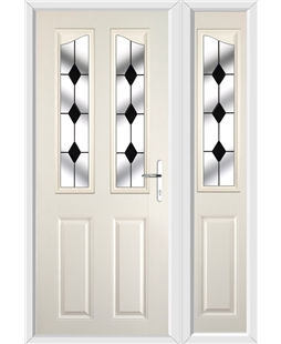 The Birmingham Composite Door in Cream with Black Diamonds and matching Side Panel