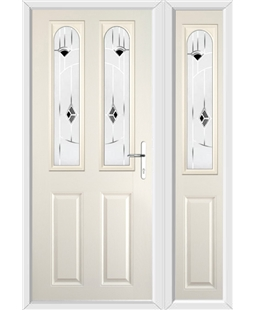 The Aberdeen Composite Door in Cream with Black Murano and matching Side Panel