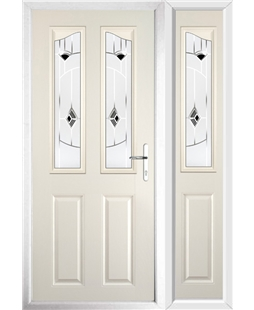 The Birmingham Composite Door in Cream with Black Murano and matching Side Panel