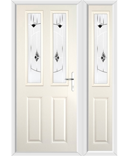 The Cardiff Composite Door in Cream with Black Murano and matching Side Panel