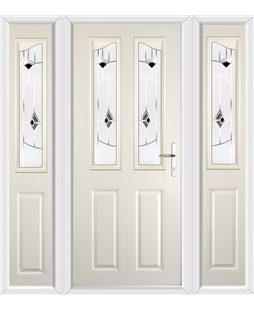 The Birmingham Composite Door in Cream with Black Murano and matching Side Panels