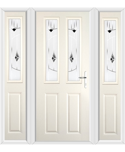 The Cardiff Composite Door in Cream with Black Murano and matching Side Panels