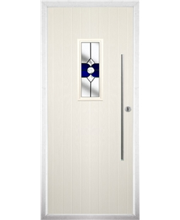 The Zetland Composite Door in Cream with Blue Crystal Bohemia