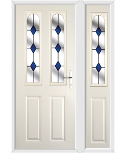 The Aberdeen Composite Door in Cream with Blue Diamonds and matching Side Panel